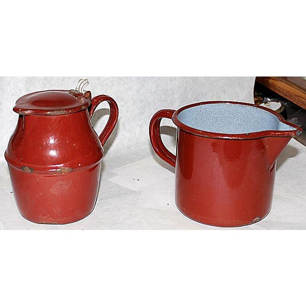 French Enamelware Creamer and Pichter - Image 2 of 5