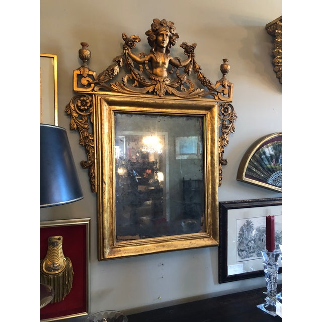 Italian Early 19th Century Antique Neo Classical Carved Wood Italian Gilt Mirror For Sale - Image 3 of 12