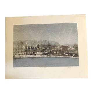 "Original Bucks County Winter Lithograph Antony Michael Autorino ""Rivers Edge"" Lambertville For Sale"