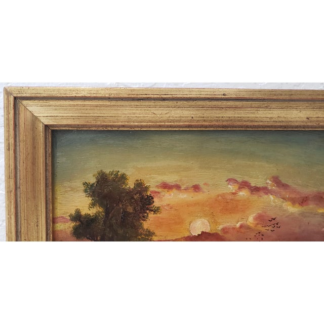 Red 19th Century Luminous Sunset Over Mountain Lake Oil Painting For Sale - Image 8 of 10
