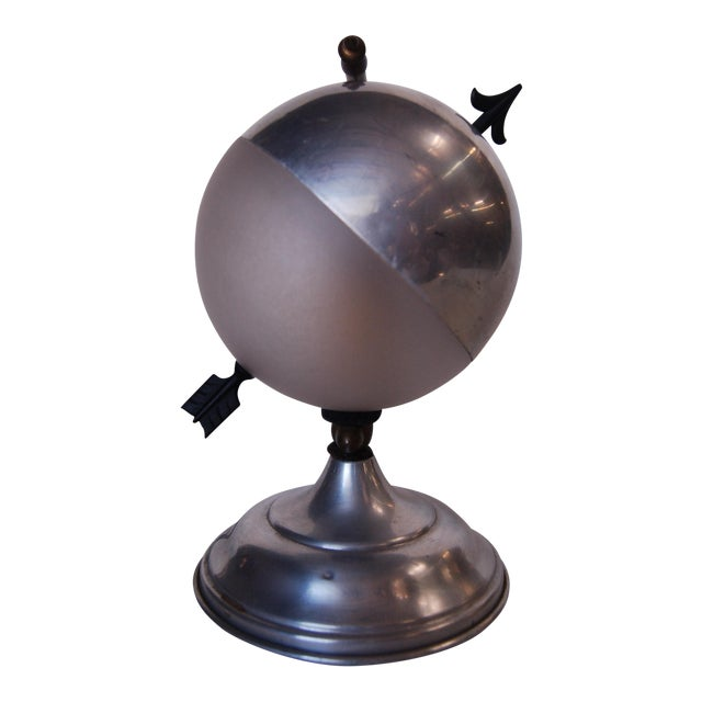 "Art Deco Aluminum Globe ""Saturn"" Swiveling Table Lamp For Sale"