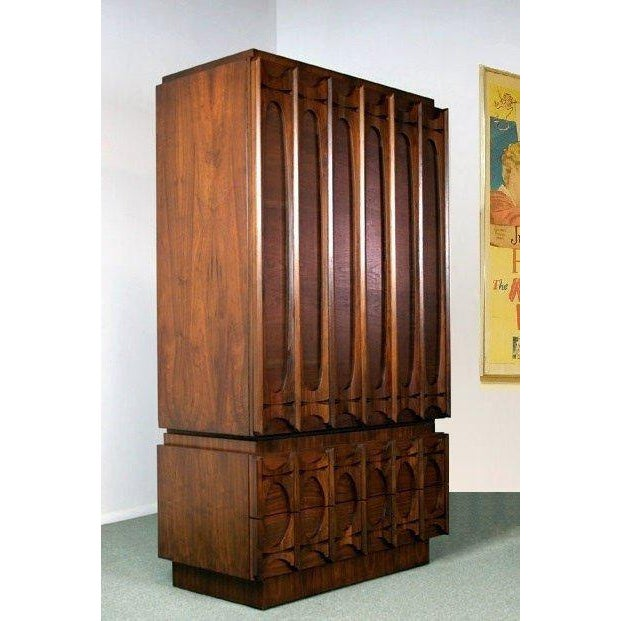 Brutalist Mid Century Modern Paul Evans Brutalist Style Sculpted Walnut Gentleman's Chest / Armoire For Sale - Image 3 of 5