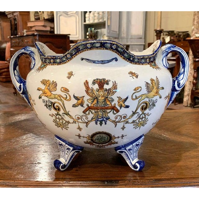 French 19th Century French Louis XV Hand Painted Porcelain Cache Pot Signed Gien For Sale - Image 3 of 11