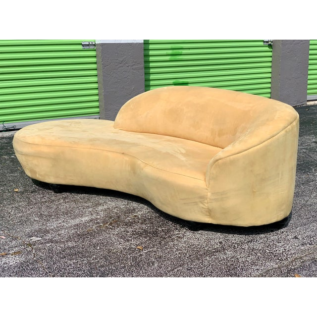 Vladimir Kagan Style Serpentine Tan Cloud Sofa For Sale - Image 9 of 11