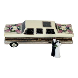 "Authentic Vintage Limoges ""Just Married"" Limo Box by Rochard For Sale"