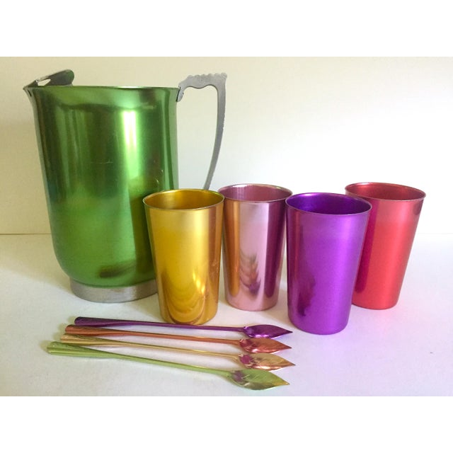 Vintage Mid Century Modern Rare Anodized Spun Aluminum Multicolor Beverage Serving Set - 9pc For Sale In Kansas City - Image 6 of 13