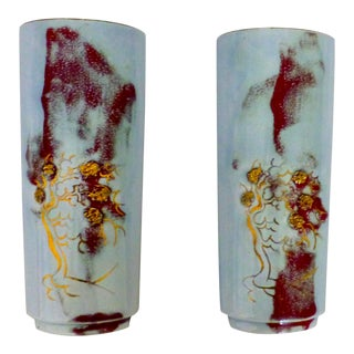 1960s Asian Glazed Pottery Wall Pockets - a Pair For Sale