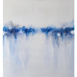 Large Modern Abstract Original Blue White Painting on Canvas For Sale