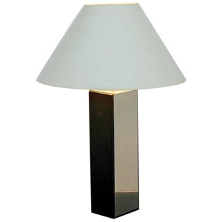 Laurel Slate and Polished Aluminum Table Lamp For Sale