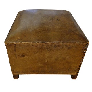 20th Century Traditional Brown Leather Ottoman