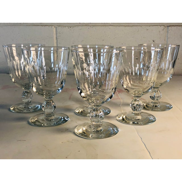 1950s Mitred Glass Wine Stems, Set of 6 For Sale - Image 9 of 9