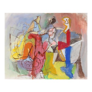 Bright Abstracted Figures in Gouache, Circa 1970s For Sale