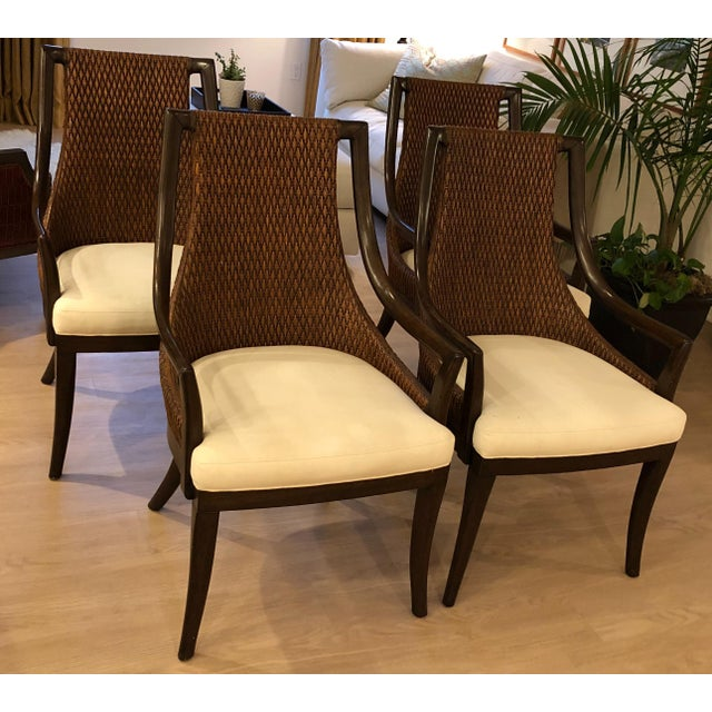 White Modern Dining Arm Chairs - A Set of 4 For Sale - Image 8 of 8