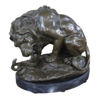 Bronze Lion & Serpent Sculpture For Sale