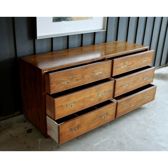 Gold Henredon Artefacts 6-Drawer Campaign-Style Dresser / Credenza / Buffet For Sale - Image 8 of 13