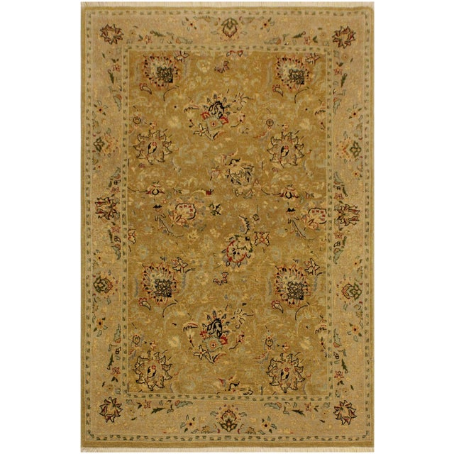 Semi Antique Istanbul Latrice Gold/Gray Turkish Hand-Knotted Rug -4'4 X 6'2 For Sale