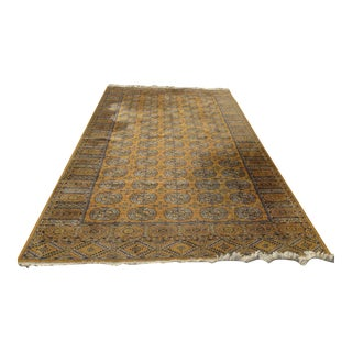 Large Vintage Mfg. Franco-Belge De Tapis Gold Bukhara Area Rug Made in Belgium For Sale