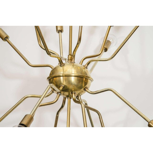 Italian Brass Spider Sputnik Chandelier Pendant Attributed to Arredoluce - Image 4 of 7