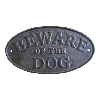 Large Caste Iron Beware of the Dog Sign For Sale