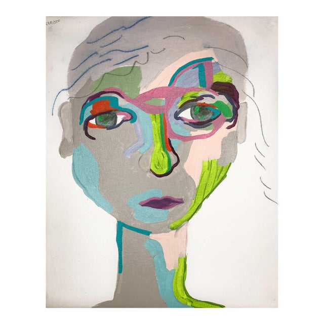 """Contemporary Abstract Portrait Painting """"From Another Perspective, No. 2"""" - Framed For Sale"""
