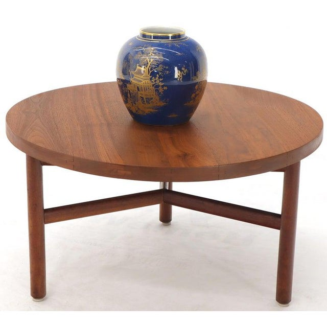 Thick Solid Teak Top Round Coffee Center Table For Sale - Image 6 of 11