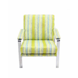 Green Striped Mid-Century Modern Lounge Chair Preview
