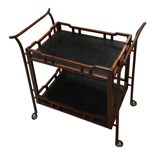 Vintage Rosewood Bamboo Tea Cart For Sale