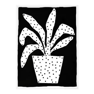 Polkadot Plant by Kate Roebuck in White Framed Paper, XS Art Print For Sale