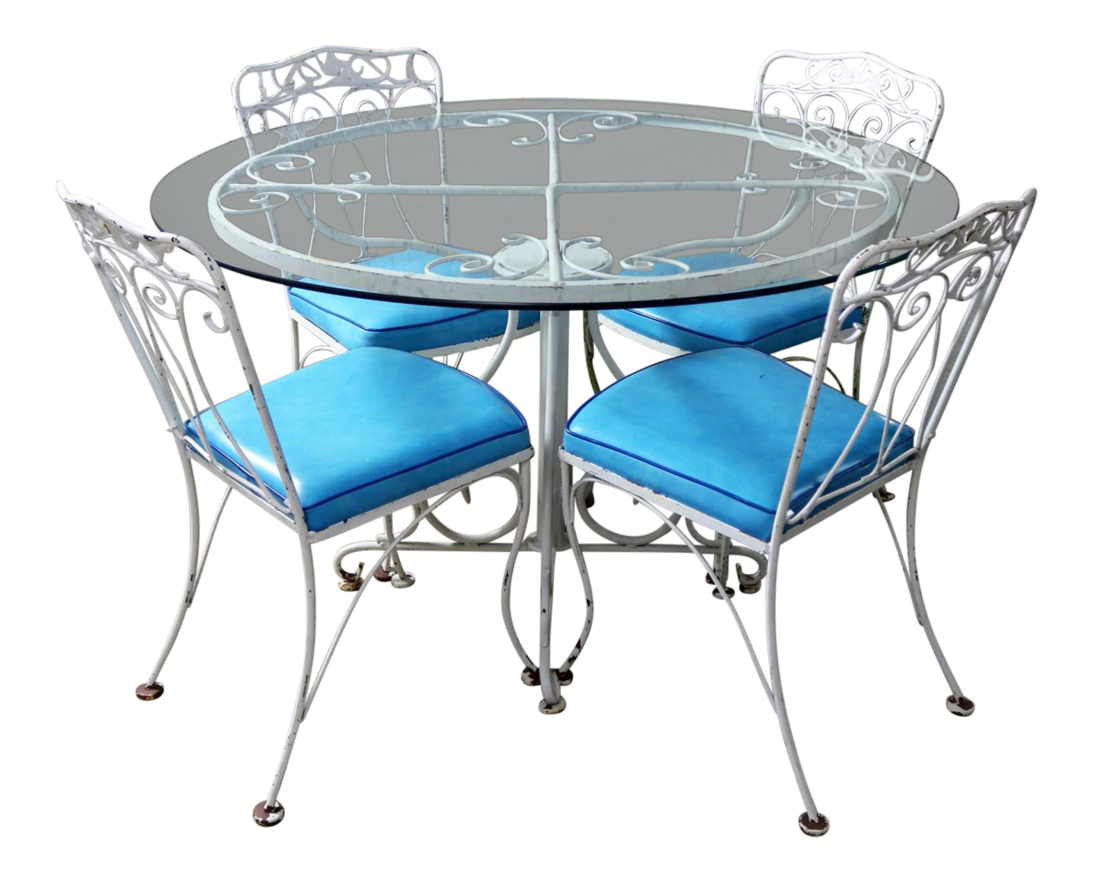 Salterini Style Wrought Iron Patio Set Round Table And Four Chairs With  Turquoise Vinyl Seats