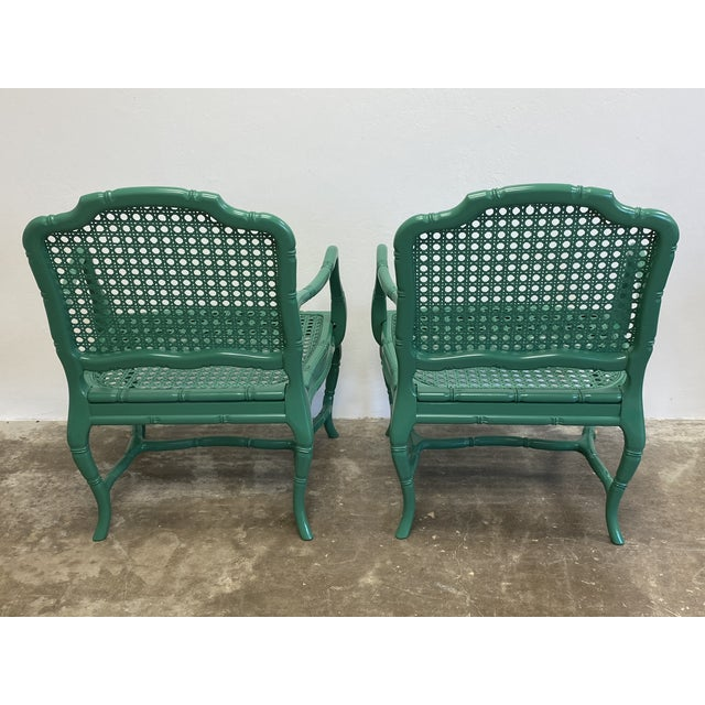 Vintage Green Lacquered Cane Chairs - a Pair For Sale - Image 12 of 13