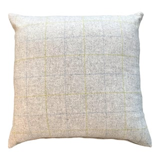 British Gray Flannel Plaid Pillow For Sale