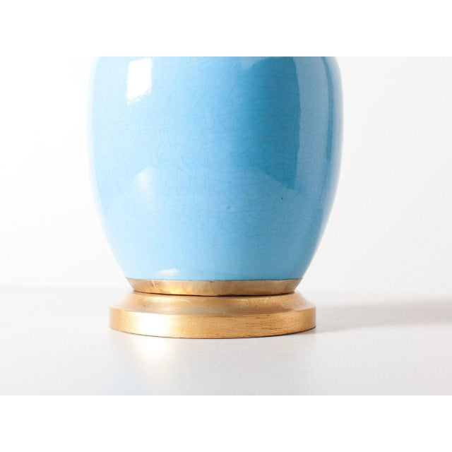 Contemporary Contemporary Turquoise Crackle Lamp For Sale - Image 3 of 6