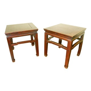 Early 19th Century Antique Ming Meditation Bench/End Tables- A Pair For Sale