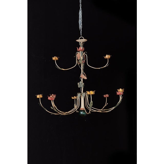 White Rustic French Iron Twelve-Light Candle Chandelier For Sale - Image 8 of 13
