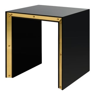 Flair Collection Large Edge Side Table in Black / Brass For Sale
