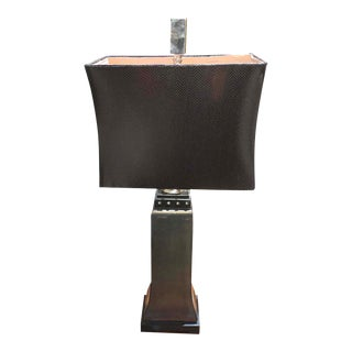 Uttermost Lamp with a Leather Shade For Sale