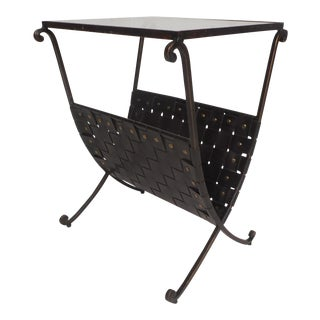 Contemporary Modern Iron Frame Magazine Rack or End Table For Sale