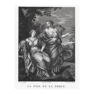 Peace and Strength 18th Century Engraving For Sale