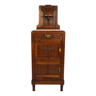 Art Nouveau Carved Walnut Cabinet With Marble Top, Circa 1900 For Sale
