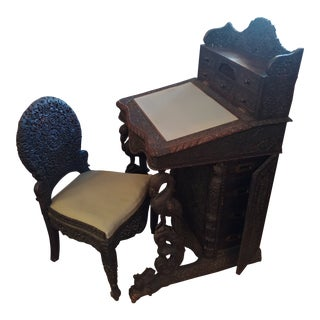 Anglo Indian Heavily Hand-Carved Desk & Chair For Sale