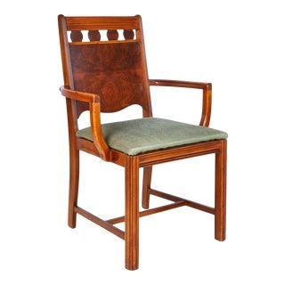 Art Deco Burl Walnut Side Chair For Sale