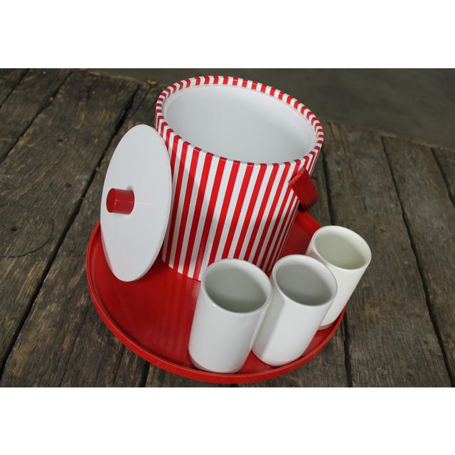 Mid-Century Red & White Ice Bucket, Tumblers and Tray Beverage Set For Sale - Image 5 of 11