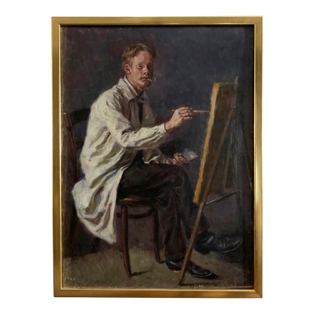 C1905 Artist Self Portrait Painting, Illegibly Signed For Sale