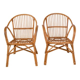 1950s Vintage French Colonial-Style Rattan Chairs- Pair For Sale