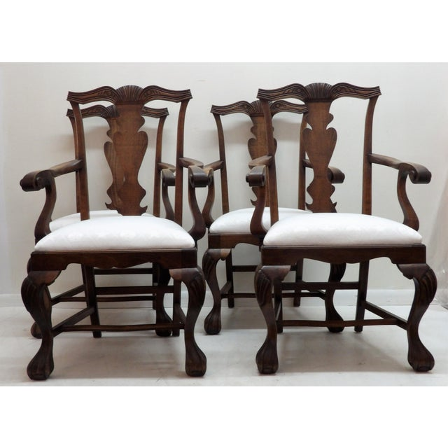 Handsome Set of 4 Dining Chairs -- This set feature new upholstered seats in a white on white seashell pattern Duralee...