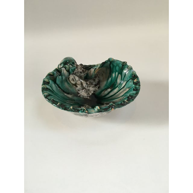 Beautifully hand-decorated Italian glazed terra cotta bowl or catchall in the form of a seashell in vibrant colors of...