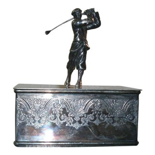 Art Deco Dimensional Golfer Wilcox Silver Plate Co Trinket Box For Sale
