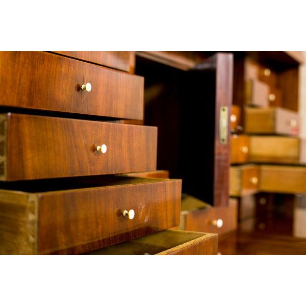 19th-Century Biedermeier Secretary Desk Veneered with Mahogany For Sale - Image 9 of 11