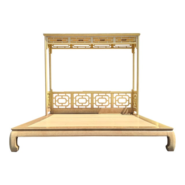 Chippendale Fretwork Ming Platform Lacquered King Size Canopy Bed For Sale