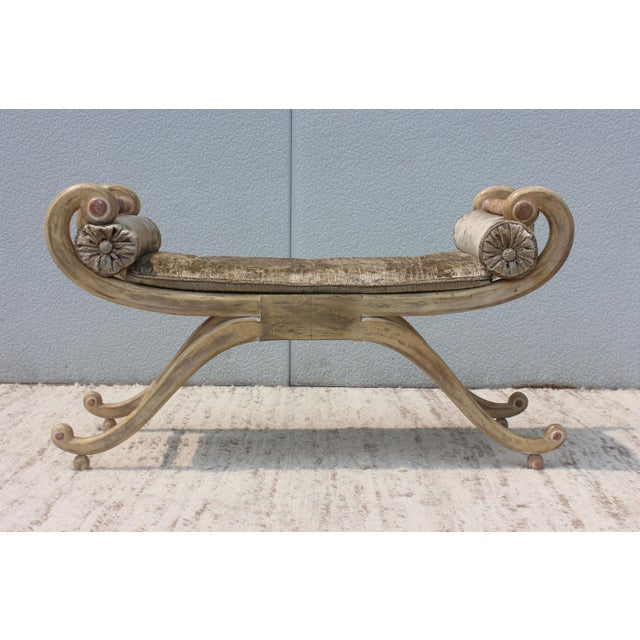 1940s 1940s French Scroll Arm Bench For Sale - Image 5 of 13